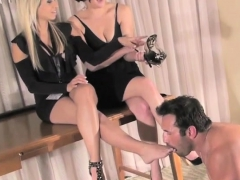 Charming playgirl gets her boots licked by resigned sub