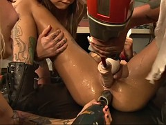 destroying squirting pussy of bonnie rotten with construction tools