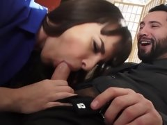 A brunette with small tits seduces her husband's employee