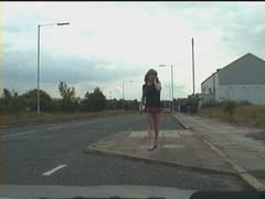 public knob flashes from lady-boy exhibitionist floozy
