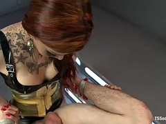 gorgeous tattooed redhead shemale blowjobs before ass fucking a guy