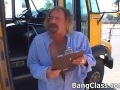 School bus driver making love teenage kitten