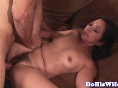 Hairy milf fucked deeply in front of hubby