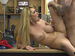 Busty blonde babe railed by pawn dude in his pawnshop