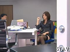Japanese office lady gets horny during work hours
