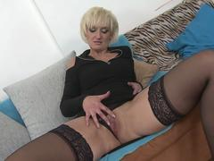 Small titted blonde granny loves young cock