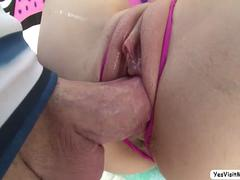 Pretty Aria gets her ass banged hardcore by a huge dick