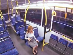 Hot blonde is sucking dick and fucking on the bus
