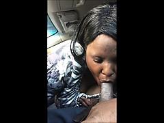 Ebony BBW MILF blowing a BBC in the car