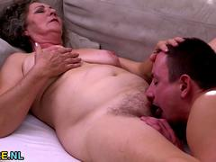 Young guy banging a hairy granny