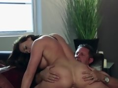 A bimbo that has a hot ass gets a dick shoved into her mouth