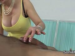 Cheating british milf lady sonia flashes her heavy titties