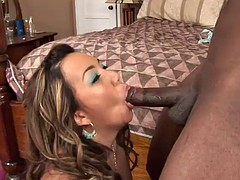 amazing deepthroat by asian chick before getting fucked by black cock