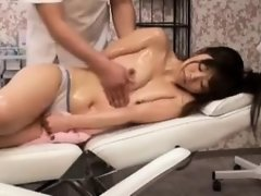 Perky breasted Asian cutie enjoys a stiff prick on the mass