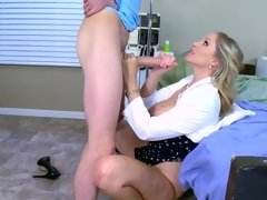 A blonde with large tits opens up her legs to receive a lot of love