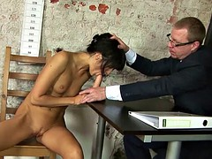 Kinky double dildo test for young secretary