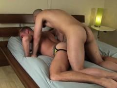 Gay hunk has bareback sex