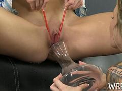 Two horny lesbians squirt in each others mouths like crazy