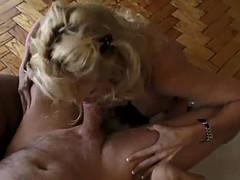 fuckin' skank sucks dick & takes cum in her nipple