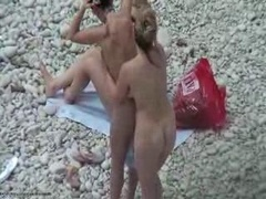 Four Nude Lez Gals On Nudist Beach