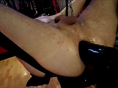 lover l Renee stretching ass with a large and a vibrator dildo