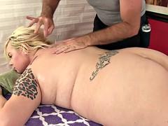 Blonde fatty sex massage