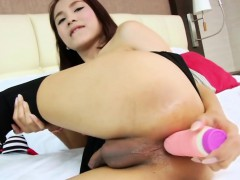 Sweet Asian Tgirl Nun Having Fun With A Toy
