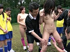Morena, Grupo, Japonés, Al aire libre, Público, Deporte, Tetas, Juguetes