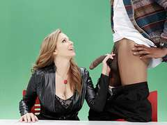 Talk show host gets turned on and sucks a huge ebony cock and gets fucked