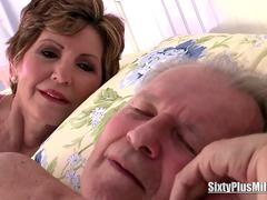 Granny leaves her husband sleeping and seducing a younger stud