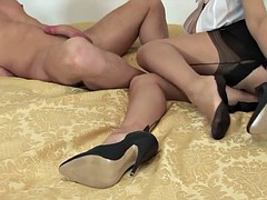British lady stockings legjob footjob