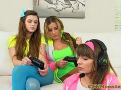 Clothed babes dominate dick in cfnm group