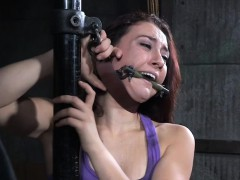 Gagged sub restrained and flogged by dom