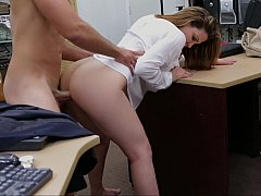 Busty babe with wet pussy tastes cock in the office