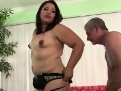 Glamorous plumper bouncing on hard cock