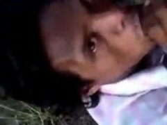 Cute indian guy blows and swallows outdoor