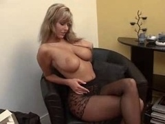 Big-breasted Soccer mom Puts On Pantyhose