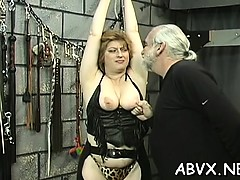 Rough spanking and harsh thraldom on woman's bawdy cleft
