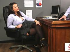 UK office babe instructs sub guy