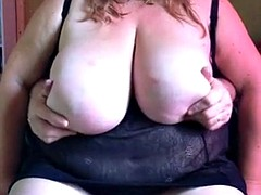 Huge breasts fondled to orgasm