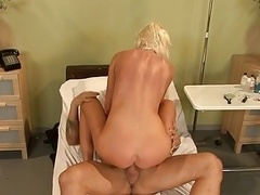 Blonde nurse with sizeable tits