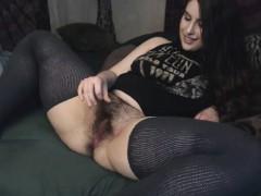 Brunette brune, Poilue, Jarretelles, Adolescente, Webcam