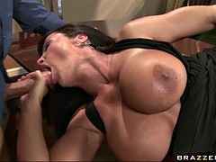 cock hungry milf lisa ann laying on her back sucking meaty cock