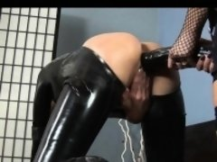 Huge Black Dildo in Latex Girl