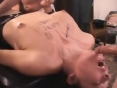 Brunette Whore Covered In Cum On Table At Tampa Gangbang