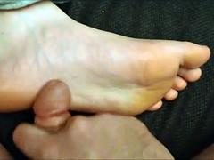 Cumshot on her soles