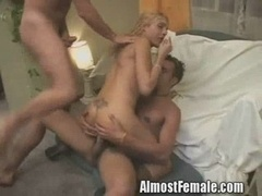 Shemale Gets Double Rectal Fucked