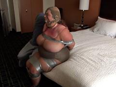 Joy bound in hotel room