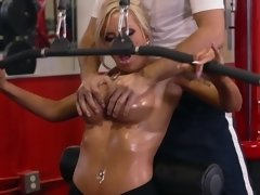 Workout milf Nina Elle oiled and fucked by her partner