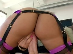 Brunette whore in lingerie shows her butt hole and gets rammed